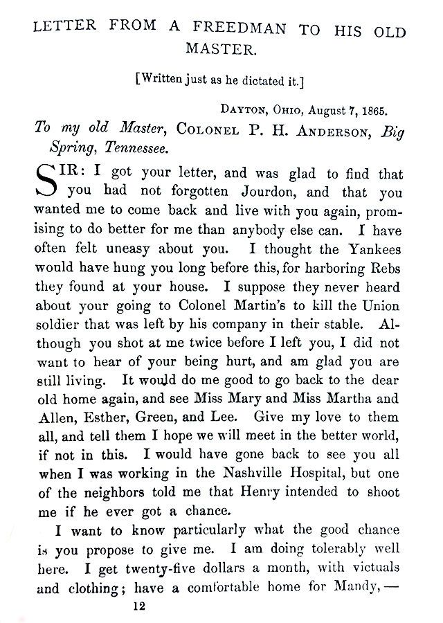 Letter From A Freedman To His Old Master.Jourdon Anderson Calculates His Back Pay Plaintalkhistory
